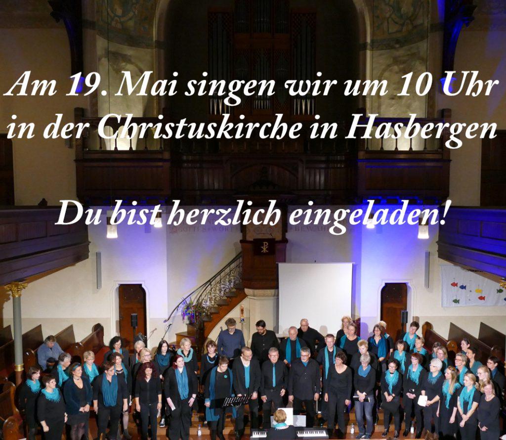 Am 19.5. singen wir im Gottesdienst